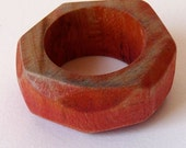 Wooden rock ring in peach - Made to order