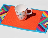 Slanted Stripes - Orange Patchwork Mini Quilt, Table Runner, Table Quilt