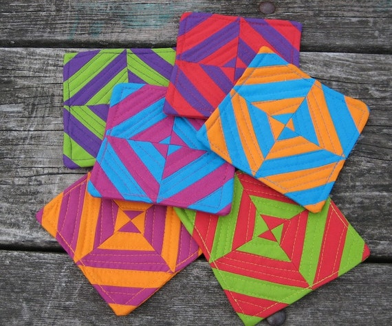 Dizzying Diamonds - Colorful Quilted Coasters