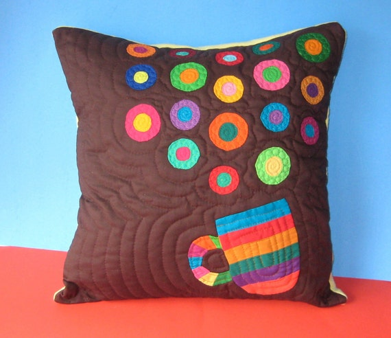 Coffee Lovers Colorful Quilted Pillow