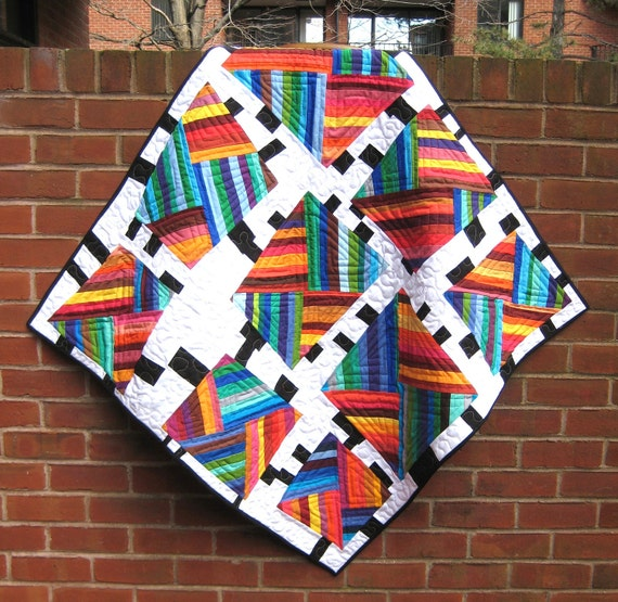 Intersecting Rainbows - Modern Patchwork Baby Quilt, Kids Quilt, Crib Quilt, or Wall Quilt