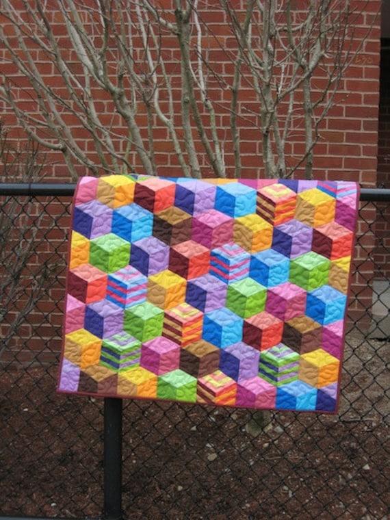 Tumbling Blocks Handmade Patchwork Baby Quilt