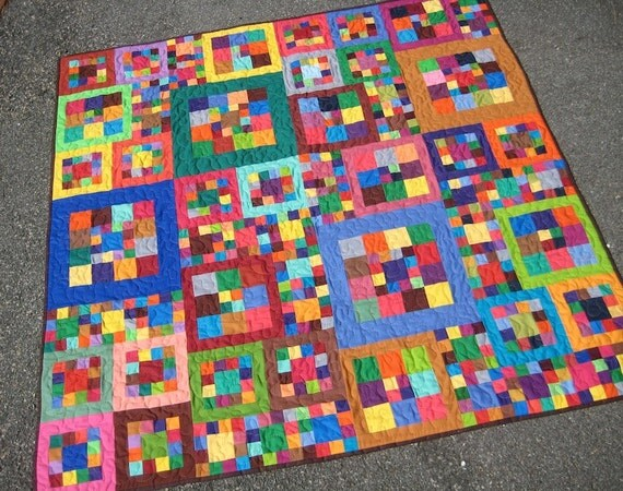 Colorful Modern Patchwork Baby Quilt