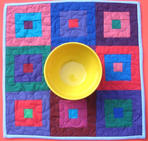 Modern Patchwork Table Runner or Wall Hanging - Squares and Strips