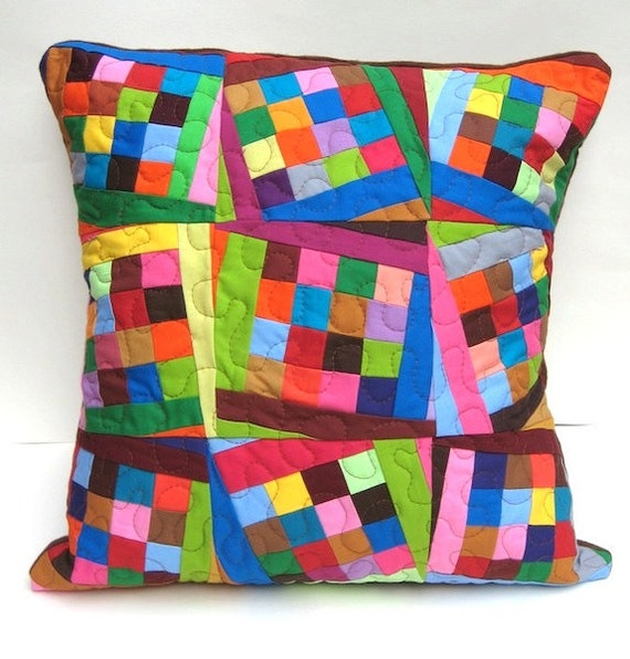 Modern Patchwork Pillow : Tilting Squares Modern Patchwork Flannel Throw Pillow