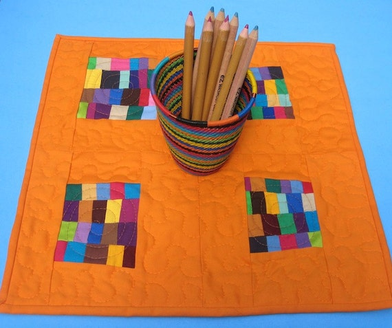 Orange Patchwork Mug Rug, Mini Quilt, or Quilted Wall Hanging - 'Floating' Patchwork Patches
