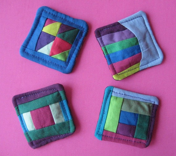 Mini Patchwork Quilt Magnets - Set of Four in Blue, Purple, and Green