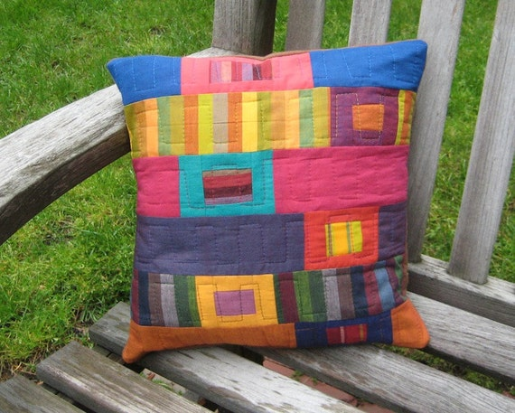 Modern Patchwork and Quilted Decorative Throw Pillow - Multicolored Stripes and Solids in a Floating Patchwork Design