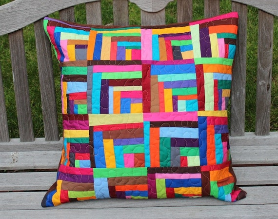 Custom Half Cabin Patchwork Pillow for Sue