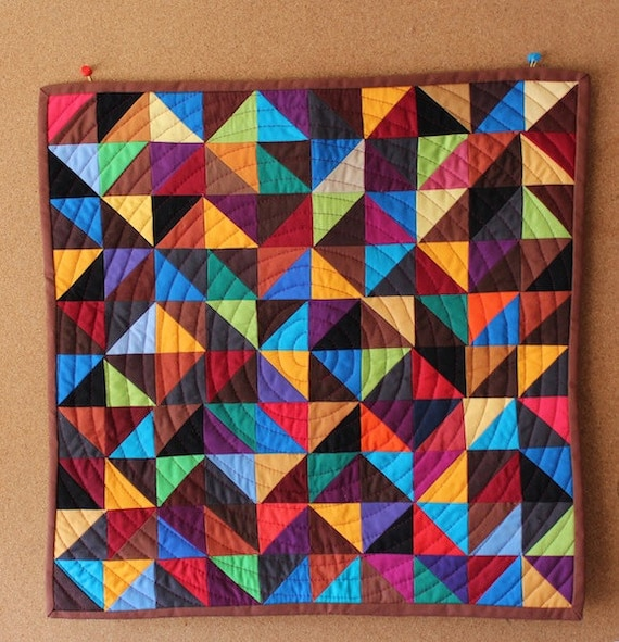 Two-Toned Triangles - Multi-color Modern Patchwork Wall Quilt, Quilted Hanging, Mini Quilt