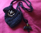 Black Amulet Bag with Charm
