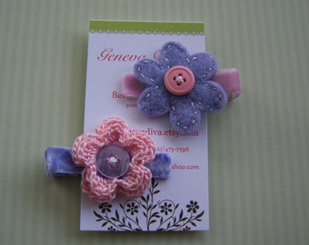 Set of 2 Purple and Pink Hairclips...one felt and one crochet