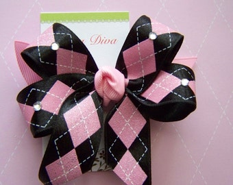 Black and Pink Argyle with Sparkle Hairbow