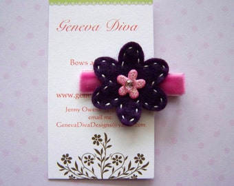 Purple and pink double layer felt flower hairclip
