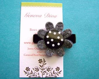 Gray and Black Polka-Dot Felt Flower Hairclip