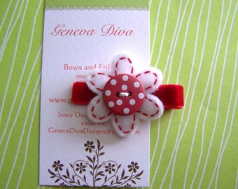 White and Red Polka-Dot Felt Flower Hairclip