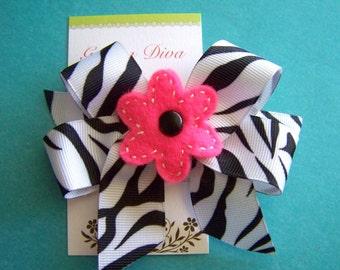 Zebra Hairbow with Shocking Pink Felt Flower Center