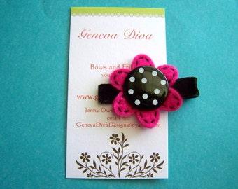 Hot Pink and Black Polka-Dot Felt Flower Hairclip