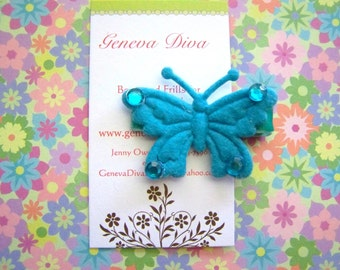 NEW...Felt Butterfly Hairclip in Turquoise Blue