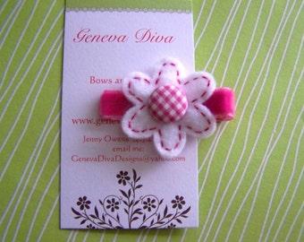 Hot Pink Gingham and White Felt Flower Hairclip