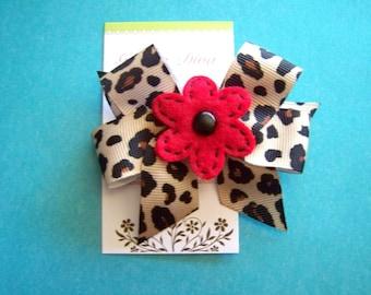 Leopard Print Diva Bow with Red Felt Flower Center