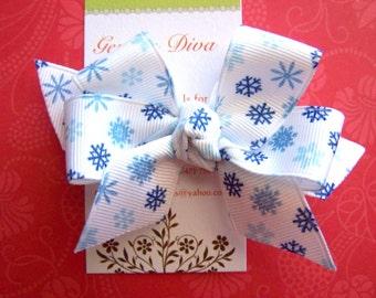 Blue Snowflakes Classic Diva Bow