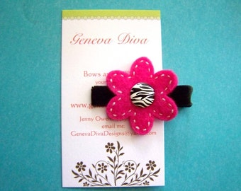 Zebra and Hot Pink felt Flower Clip