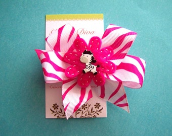 Hot Pink Zebra Hairbow