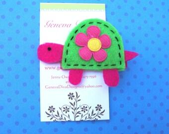 Tiny The Turtle Handmade Felt Hairclip