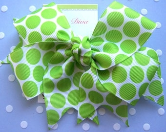 Lime Green Bubble Dots XL Diva Bow