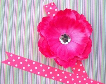 Shocking Pink Peony Flower Bowholder