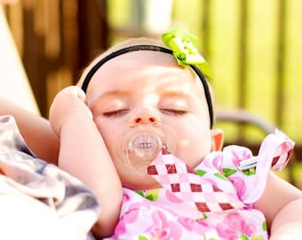 Pink and Brown Argyle Pacifier Clip