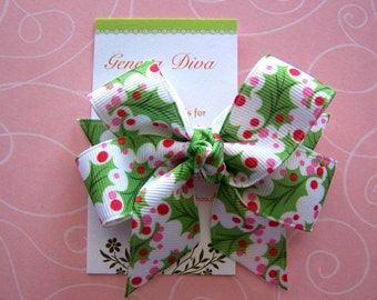 Pink Holly Berries Classic Diva Bow
