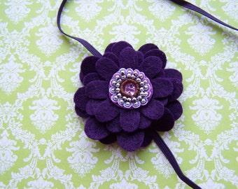 Deep Purple Felt Flower Stretch Headband