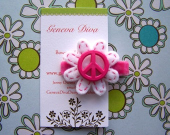 Peace and Flowers.....Handstitched Felt Flower Hairclip in Hot Pink