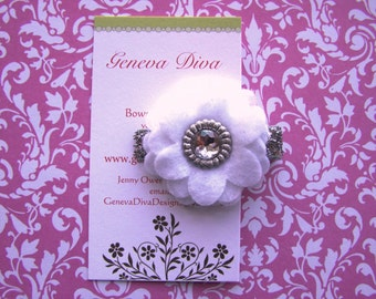 White and Silver 4-Layer Felt Flower Clip