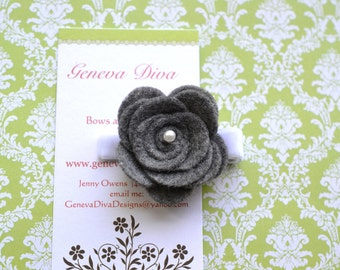 NEW...Felt Rosette Hairclip in Charcoal Gray