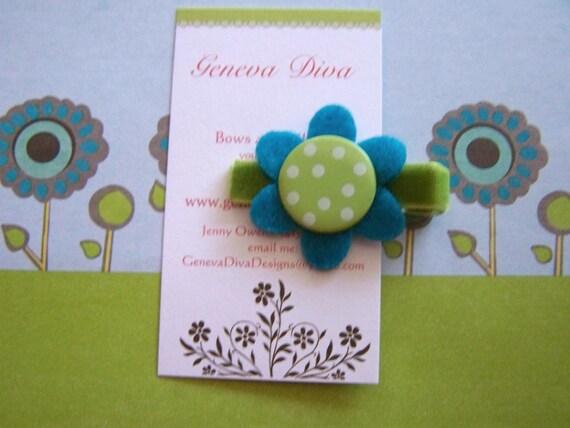 Lime Green Polka Dot Felt Flower Hairclip