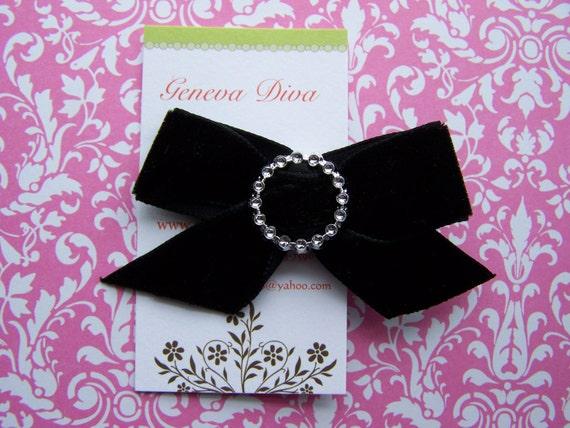 NEW....Black Velvet with Rhinestones Basic Hairbow