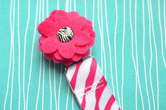 Hot Pink Zebra Flower Pacifier Clip
