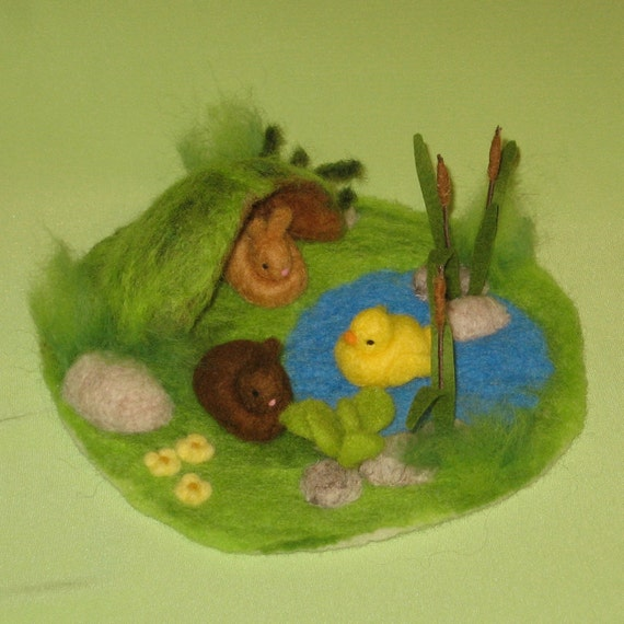 Meadow Pond with Bunny Burrow-needle felted scene