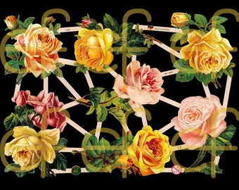Victorian Scrap - Peach and Yellow Roses - 7346