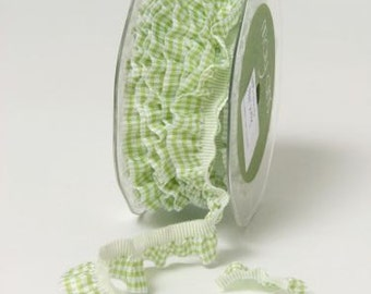 Elastic Plaid Ruffle Ribbon - Green - 3/4 Inch