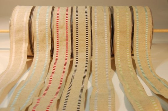 Natural Burlap with Stripe Wired Edge - Silver and White - 1.5 inches by 40 inches