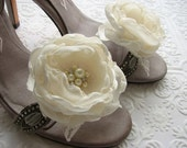 Wedding ivory flower shoe clips Large bridal peonies with pearls and rhinestones