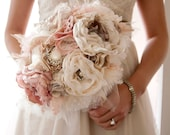 Custom Brooch Bouquet, Fabric wedding bouquet Deposit for Laurie