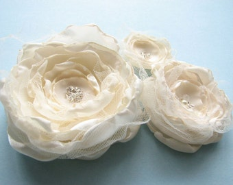 3 bridal hair clips, decor or dress add-ons 'frosting'