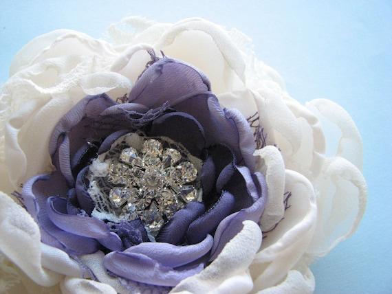 Flower hair clip, Large Ivory and Purple Bloom, rhinestone hair piece or sash pin flower