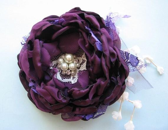SALE Large Eggplant Flower Hair clip, bridal hairpiece, dramatic aubergine peony