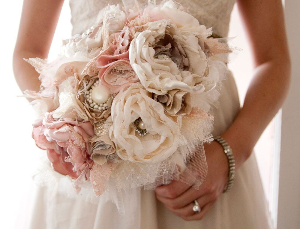 Fabric flower custom wedding bouquet with rhinestone and for One flower bridal bouquet